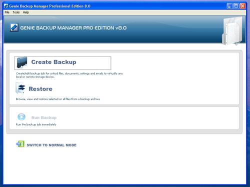 genie backup easy mode screenshot
