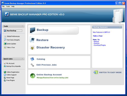 genie backup main menu screenshot