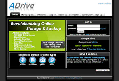 adrive old homepage design