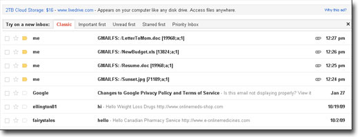 gmail drive inbox