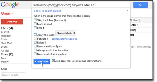 gmail drive email filter
